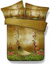 100% Baumwolle Schleifen Bettwäsche, Pullover Schaltfläche Muster gedruckt Bettbezug winter Heimtextilien für King Queen Size Set, 4 Stk.