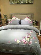 100% Baumwolle, super weich Double-layer-Gaze Fabric 4 pcs Floral bestickte Bettwäsche in Farbe grau Housse de Couette 220/240