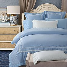 100 % Baumwolle Tribute Seide Bettwäsche-Set weiße bestickte Hotel Bettbezug Set Queen-Size mit Bed Sheet Kissenbezug , diana