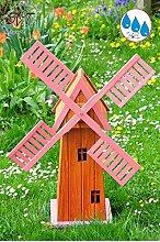 100 cm 1m Windmühle, Gartenwindmühle 100 cm, einstöckig KLASSIK ECK100-pink-OS MIT BALKON-Rand Fenster, PINK rosa voll funktionstüchtig,schöne Details, Fensterkreuz Deko-Windmühlen Outdoor, Windfahne / Windrad o. SOLAR o. Außenbeleuchtung / Solarbeleuchtung / LED Licht 1 m groß pink lackiert, Flügel - Leisten pinker rosaroter roter Korpus unten für Innen- und Außenbereich, Balkon, Garten und Terrasse, wunderschöne Gartenzierde