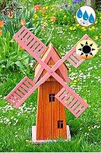 100 cm 1m Windmühle, Gartenwindmühle 100 cm, einstöckig KLASSIK ECK100-pink-MS MIT BALKON-Rand Fenster, PINK rosa voll funktionstüchtig,schöne Details, Fensterkreuz Deko-Windmühlen Outdoor, Windfahne / Windrad komplett mit Solar, Solarbeleuchtung DOPPEL-SOLAR LICHT 1 m groß pink lackiert, Flügel - Leisten pinker rosaroter roter Korpus unten für Innen- und Außenbereich, Balkon, Garten und Terrasse, wunderschöne Gartenzierde