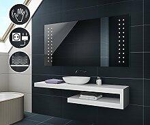 100 cm x 70 cm Design Badspiegel mit LED Beleuchtung von Artforma | Wandspiegel Badezimmerspiegel | SENSOR SCHALTER + STECKDOSE + HEIZMATTE