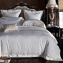 100% Cotton 6 Stücke doppel-bett-blatt decke deckung gorgeous garten american european style bettwäsche set weihnachten dekoration weiß-A Queen2