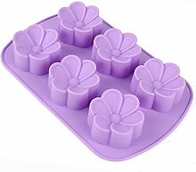 100Explosionen Backen Werkzeuge Silikon Kuchen Form Seife Form Form six-flower-shaped Schokolade Kuchen Form, Silikon, 25.8*17*3cm