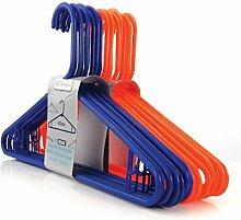 100 Farbenfrohe Orange-Blaue Kunststoff Kleiderbügel mit Hosensteg - 42cm - Hangerworld