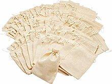 100 Jutebeutel Säckchen Nikolaus 10x17cm beige