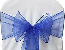 100 Königsblau Organza Schärpen Schleife für Stuhlbezug und für Hochzeiten Partys - organza Hochzeits Stuhl Schleifen