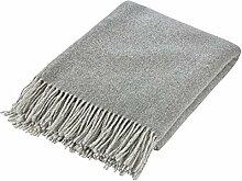 100% Merinowolle Decke Luxuriös Merino Wolldecke Kuscheldecken - Grau 130 x 180 cm