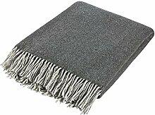 100% Merinowolle Decke Luxuriös Merino Wolldecke Kuscheldecken - Dunkelgrau / Schwarz 130 x 180 cm
