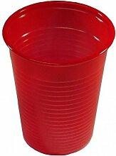 100 Plastikbecher Einwegbecher Trinkbecher rot 0,2 l + 1 Glasbeutel