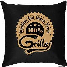 100 Prozent GRILLER - Witziges Zusatzkissen mit Füllung. Kuschelkissen-Dekokissen 40x40 Geschenkidee-Sofa-schwarz
