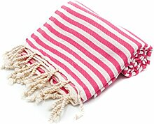 100% Pure Cotton Towel/Sauna Towel Beach Towel Hammam Peshtemal Turkish Bath Towel Hamamtuch Pestemal Fouta (Pink)