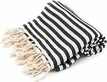100% Pure Cotton Towel/Sauna Towel Beach Towel Hammam Peshtemal Turkish Bath Towel Hamamtuch Pestemal Fouta (Black)