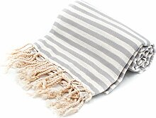 100% Pure Cotton Towel/Sauna Towel Beach Towel Hammam Peshtemal Turkish Bath Towel Hamamtuch Pestemal Fouta (Grey)