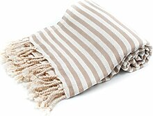 100% Pure Cotton Towel/Sauna Towel Beach Towel Hammam Peshtemal Turkish Bath Towel Hamamtuch Pestemal Fouta (Beige)