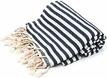 100% Pure Cotton Towel/Sauna Towel Beach Towel Hammam Peshtemal Turkish Bath Towel Hamamtuch Pestemal Fouta (Navy)