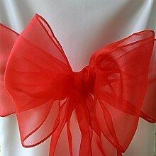 100 Rot Organza Schärpen Schleife für Stuhlbezug und für Hochzeiten Partys - organza Hochzeits Stuhl Schleifen