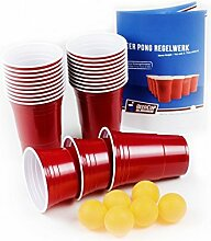 100 Rote Becher, Red Party Beer Pong Cups 16 oz.