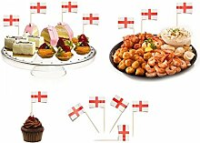100 St George Sandwich Party Flag Food Cup Cake Cheese Cocktail Stick Picks England Football Sports Buffet Decoration Labels by Concept4u