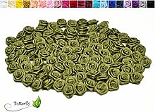 100 Stk. Satinrosen 1,5cm // Rosen 15mm Stoffrosen Satin Satinröschen Rosenköpfen deko Basteln Tischdeko Dekoration Streudeko Hochzeit Taufe Kommunion Blumen Applikationen, Farbe: olivgrün olive