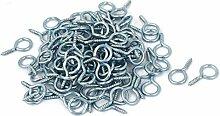 100 Stk Silber 1.9mm Gewinde-Durchmesser Ringschraube Holzgewinde Ringhaken