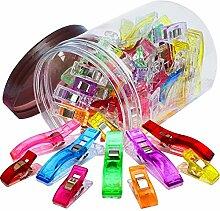 100 Stück 2 Clips Größen Kunststoff Mehrzweck Nähen Quilten Crafting Clip Handwerk Werkzeuge Zubehör Mischfarbe mit Vorratsgefäß