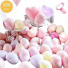 100 Stück Herz Form Latex Ballons Bunt Macaron