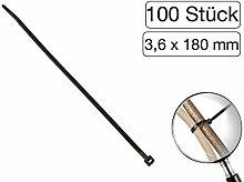 100 Stück Kabelbinder schwarz 180 mm
