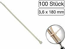 100 Stück Kabelbinder transparent 180 mm