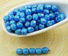 100 Stück Matt Gold-Glanz Aqua Blau Tschechische