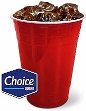 100 Stück Rot American Einweg Kunststoff PartyBecher ideal für Bier Pong Klauenhammer 470 ml 100 Stück,