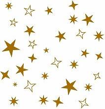 100 Stück Sterne in GOLD Aufkleber Sticker als Wandtattoo/Fensteraufkleber/Schaufensteraufkleber für Ihre Dekoration gestalten Sie Ihre Fenster mit diesen wunderschönen Stickern Größe 2cm -8cm Durchmesser Kinderzimmer Spiegel Wohnzimmer