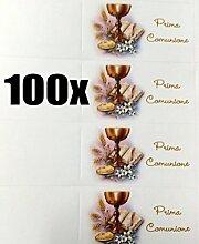 100 Stück Zettel Karte Bonboniere Erste Kommunion mit Kelch und Bibel