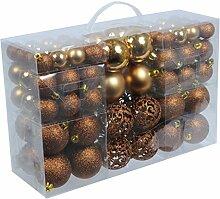 100 Weihnachtskugel Bronze Braun glänzend