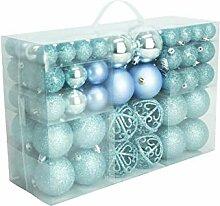 100 Weihnachtskugel Eisblau glänzend glitzernd