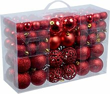 100 Weihnachtskugel Rot mit 100 Metallhaken