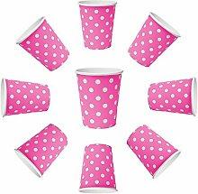 100 x Becher 230ml dots Pink Rosa, Violet Punkte,