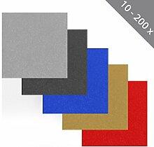 100 x HSM Teppichfliese Nadelfilz Bodenbelag selbstklebend für Treppe, Kinderzimmer oder Küche 40cm x 40cm ROT