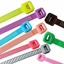 100 x Kabelbinder verschiedene Längen und Farben,