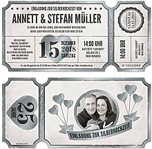 100 x Lasergeschnittene Silberhochzeit Einladungen