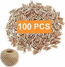 100 x Mini Deko Holzklammern Wäscheklammern Holz