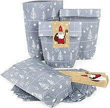 100 x Nikolaus Weihnachten Verpackung SILBER GRAU