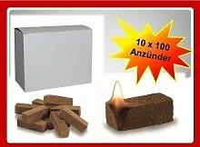 1000 St. Bio Anzünder Grillanzünder Kaminanzünder Ofenanzünder Holzfaser und Wachs