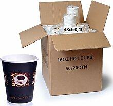 1000 x Coffee to go Becher 48 cl Bean