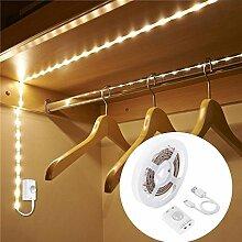 100cm Wideraufladbar Bewegungssensor LED Streifenlicht,LUXJET® Schrankbeleuchtung Licht mit 30LED,Bewegungsmelder und Helligkeitssensor Nachtlichter,warmweiß