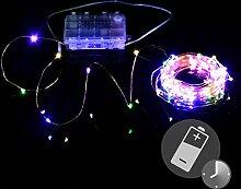 100er LED Lichterkette bunt 4-farbig Kupferdraht