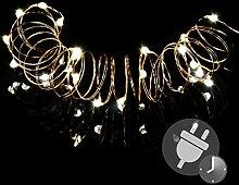 100er Mini LED Lichterkette warm weiß Trafo Timer