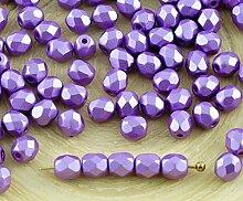 100er Pearl Pastel Violett Lila Tschechische Glas