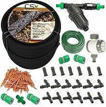 100m CS Perlschlauch Startup Z14 mit Bewässerungsuhr,Wasserfilter,Druckregulator,+20m Gartenschlauch mit Anschlüssen und umfangreichem Zubehör