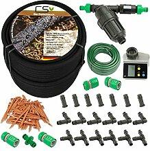 100m CS Perlschlauch Startup Z15 mit Bewässerungscomputer,Wasserfilter,Druckregulator,+20m Gartenschlauch mit Anschlüssen und umfangreichem Zubehör